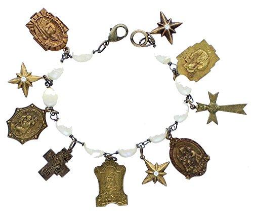 Antique Gold Color Faux Pearl Religious Medals Bracelet by TW001