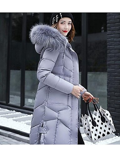 Casual Gray Cute Women'S Down Daily ZHUDJ Sleeves Solid Out Simple XL Going Coat In0qxxa7p