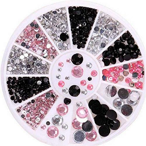 1440pcs 3D Flat Back Nail Art Rhinestones Glitter Diamond Gems Tips Decoration (SIZE - 1 wheel 3-color mixed size)