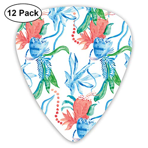 (Watercolor Tulip Small Medium Large 0.46 0.73 0.96mm Mini Flex Assortment Plastic Top Classic Rock Electric Acoustic Guitar Pick Accessories Variety Pack)