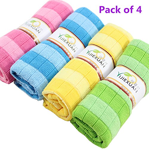 Price comparison product image Microfiber Cleaning Cloth, Qisc Soft Cotton Car Cloth Towel House Cleaning Kitchen Wiping 4-Pack (Multicolor)