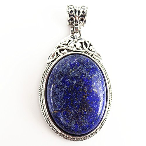JCGJ Lapis,1PCS Unisex Solitaire Lapis lazuli Stone Natural Oval Necklace Pendant For Jewelry Making(1.54