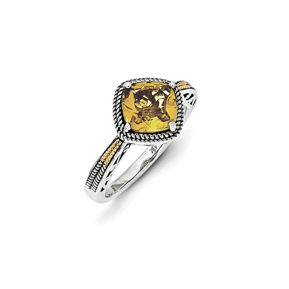 Mia Diamonds 925 Sterling Silver and 14k Yellow Gold Antiqued Citrine Ring