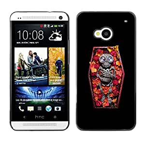 Colorful Printed Hard Protective Back Case Cover Shell Skin for HTC One M7 ( Casket Vampire Floral Spring Skeleton )