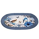 Collections Etc Bird Garden Floral Braided Oval Accent Rug