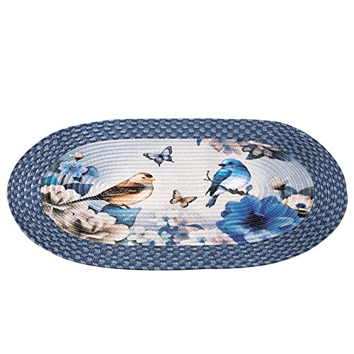 Collections Etc Bird Garden Floral Braided Oval Accent Rug - Seasonal Décor for Any Room in Home