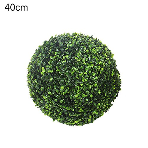 (cheerfullus 2PCS Artificial Topiary Balls Plastic Plants Grass Ball Wedding Ornament and Home Decor - 40 cm/15.75)