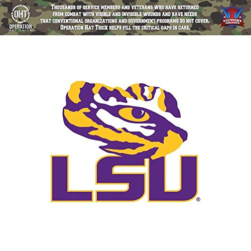 Victory Tailgate LSU Louisiana State Tigers Operation Hat Trick OHT Die Cut Vinyl Decal (12 Inch)