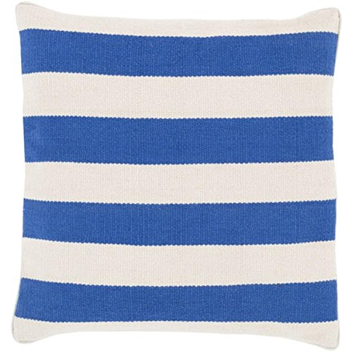"20"" Rayas Banderas Royal Blue and Light Gray Decorative Square Throw Pillow - Down Filler"