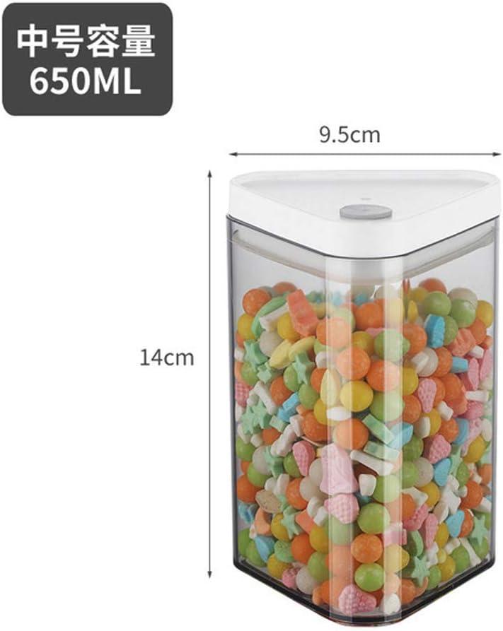 Juegos de recipientes Contenedor Almacenamiento plástico transparente triángulo latas selladas alimentos tarros cereales de grano cajas de almacenaje con tapa de la botella,M