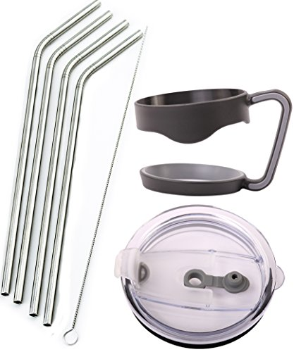 4 Bend Stainless Steel Straws for Rocky Mountain 30 Ounce Double-Wall Tumbler Vacuum Cup - CocoStraw Brand Drinking Straw TV (4 Straws + Lid + Handle)