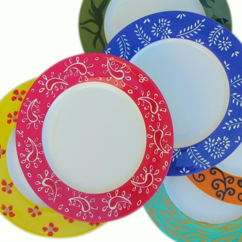 4ac67388ea Amazon.com: Set six Dinner Plates - Hand Painted Bone China in ...