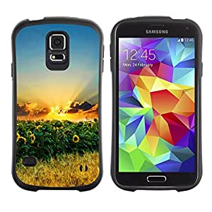 TopCaseStore Hybrid Rubber Case Hard Cover Protection Skin for SAMSUNG GALAXY S5 - Sunset Beautiful Nature 70