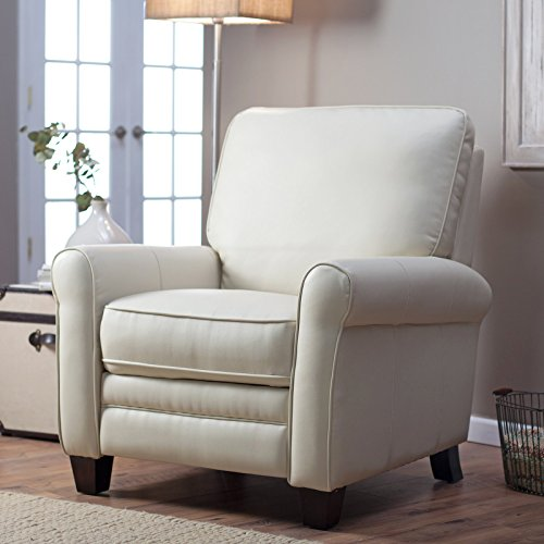 Recliner Chair Leather By Barcalounger for Any Living Room Decor. This Recliner Is Made of Soft Cream Leather with Contrasting Espresso Legs. The Frame Is Made of Plywood Which Ensures That the Chair Is Built to Last. Very Modern and Contemporary