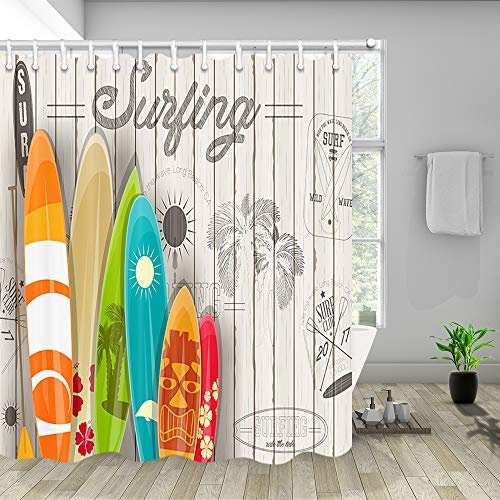 NYMB Summer Surf Shower Curtain, Tropical Colorful Surfboard on Wooden Board Wallpaper, Polyester Fabric Shower Curtain Set for Bathroom, 12PCS Hooks, 69''W X 70''H