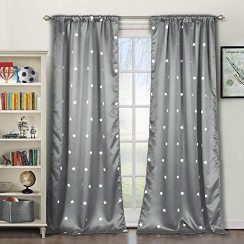 Lala Bash Gruden Metallic Star Print Blackout Darkening Pole Top Window Curtains Pair Drape