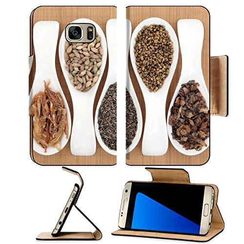 MSD Premium Samsung Galaxy S7 Edge Flip Pu Leather Wallet Case IMAGE ID: 35267009 Chinese medicine selection in porcelain spoons over bamboo