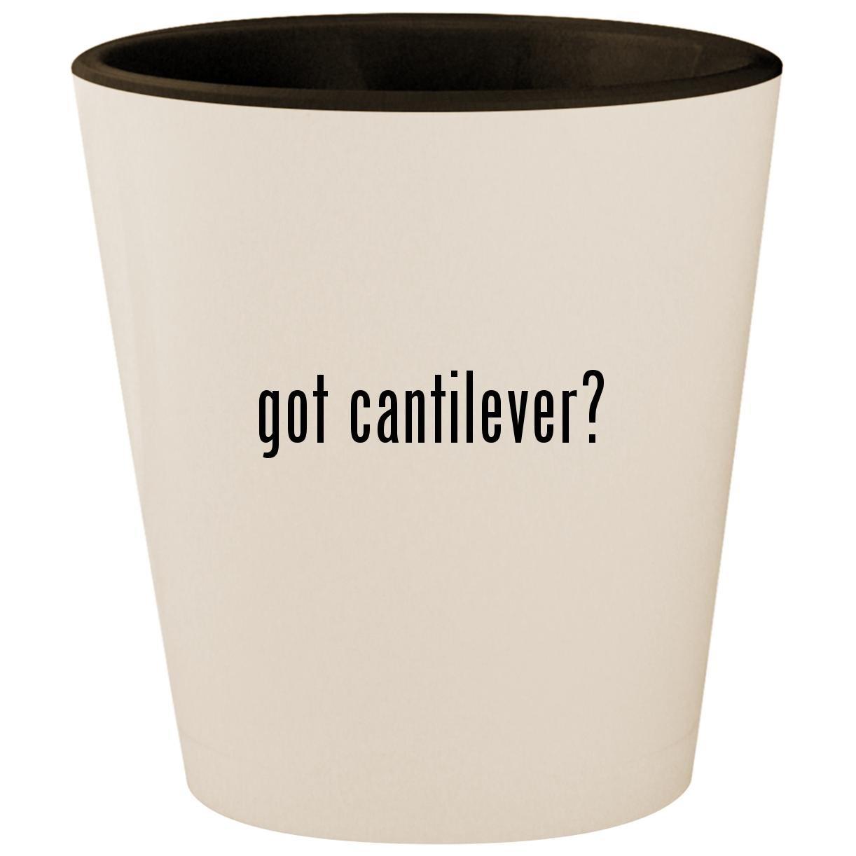got cantilever? - White Outer & Black Inner Ceramic 1.5oz Shot Glass