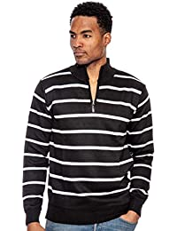 Men's Stripe Half Zip Mock Sweater