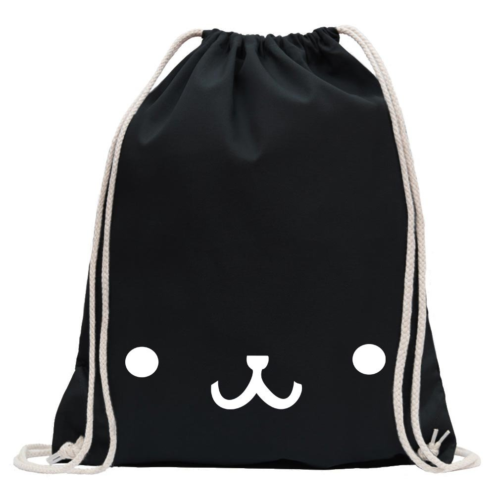 KIWISTAR - bear face Fun backpack sports bag fitness Gymbag shopping cotton with drawstring