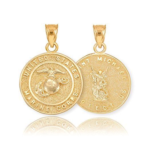 14k Yellow Gold St Michael Medal Protection Charm US Marine Corps Reversible Pendant