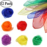 Ouinne 12 PCS Dance Scarves, kindergarten Performance Dance Small Scarf Juggling Square Multicolor Scarves (24 x 24 Inches, 6 colors)