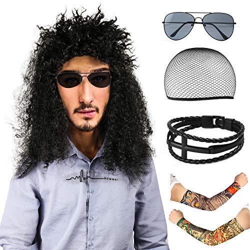Beelittle 80s Men'sHeavy Metal Wig Rockstar Costume Rocker Accessories - Fake Temporary Tattoo Sunglasses Leather Bracelets(D)]()