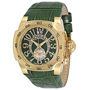 Jovial Men's Green Dial Leather Band Watch - 7215GGLQ96