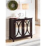 King Brand Marietta Espresso Wood Entryway Console Sofa Table, Mirrored Doors