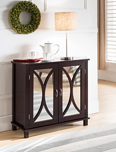 King Brand Marietta Espresso Wood Entryway Console Sofa Table, Mirrored Doors (Glass Door Nightstand)