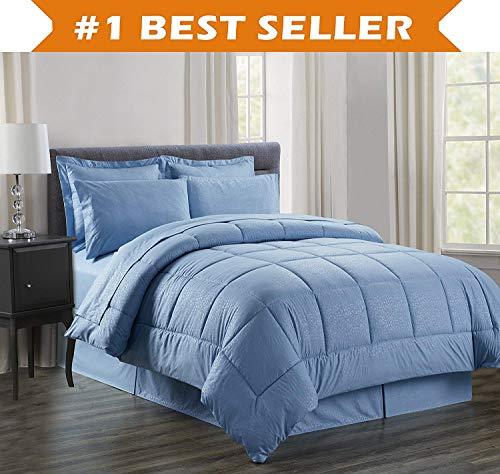 Luxury Bed-in-a-Bag Comforter Set on Amazon! Elegant Comfort Wrinkle Resistant - Silky Soft Beautiful Design Complete Bed-in-a-Bag 8-Piece Comforter Set -Hypoallergenic- King Light Blue ()