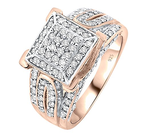 Women's Rose Gold Sterling Silver .925 Designer Ring with 124 Prong-Set Cubic Zirconia (CZ) Stones Platinum Plated jewelry