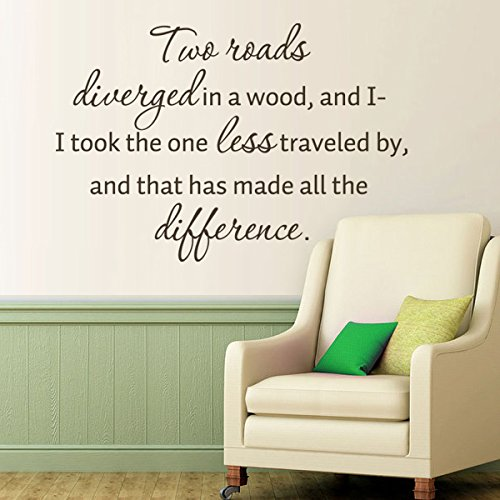 MairGwall Inspirational Decor- Two Roads Diverged in a Wood - Literary Quote Mural Teen Bedroom Wall Graphics (Black,Small) (Small Rub)