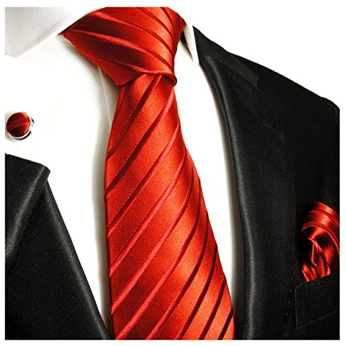 Paul Malone Necktie, Pocket Square and Cufflinks 100% Red Solid