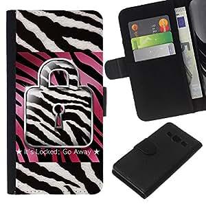 A-type (Zebra Pink White Black Quote Text) Colorida Impresión Funda Cuero Monedero Caja Bolsa Cubierta Caja Piel Card Slots Para Samsung Galaxy A3