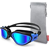 Zionor Swimming Goggles, G1 Polarized Swim Goggles UV Protection Watertight Anti-Fog Adjustable Strap Comfort fit for Unisex Adult Men and Women (Polarized Mirror Lens Black Blue)
