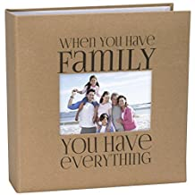 Malden 7091-26 Designs Sentiments Family with Memo Photo Opening Cover Brag Book, 2-Up, 160-4 X 6, Tan