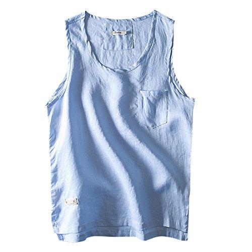 Ai Tops Outfit Weste Training Sommer Gym M Hellblau nner Toprmelloses moichien Indoor Leinen 100Baumwolle DH9EYbeW2I