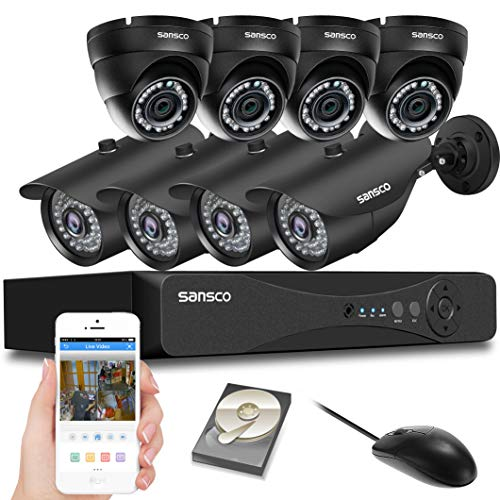 SANSCO CCTV Security Camera System with 8-Channel 1080P Smart DVR, (4) Bullet Cameras and (4) Dome Cameras (All HD 1080p 2MP), 2TB Internal Hard Drive Disk - All-in-One Video Surveillance - Dvr 4 Ntsc Channel