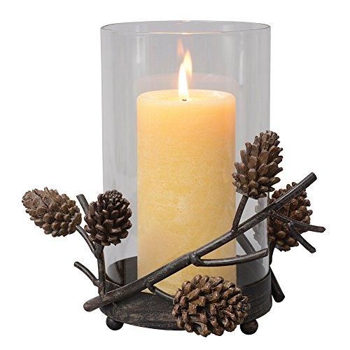 Rustic Pinecone - Black Forest Decor Pinecone Hurricane Cabin Candle Holder - Rustic Decor