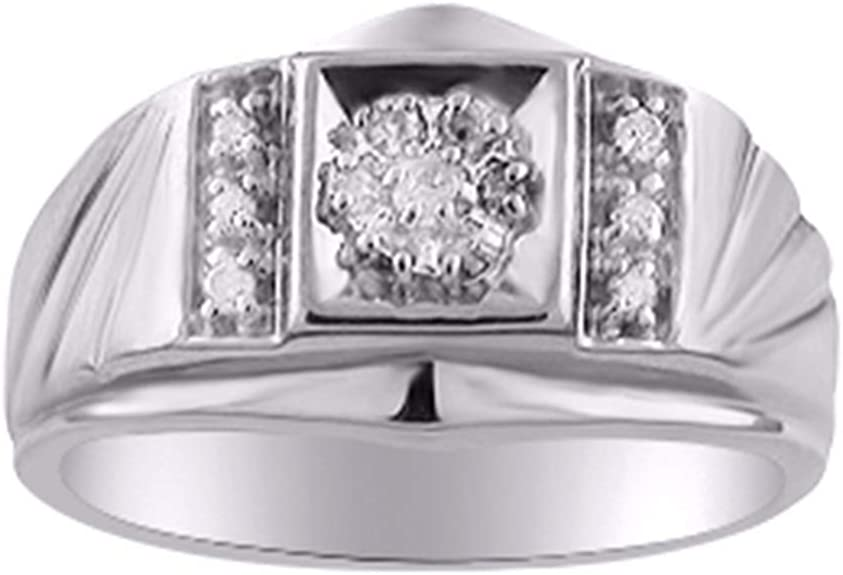 tusakha 14k Black Gold Plated Round Cut Created Blue Sapphire Three Stone Mens Wedding Band Anniversary Ring
