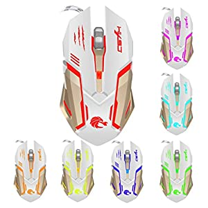 WeiYun White 2.4G Optical Adjustable 7 Colors USB Wired Gaming Game Mouse for PC Laptop