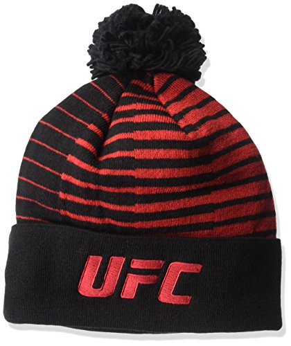 UFC Adult Unisex Red Out of Stripes Cuffed Pom Knit,OSFM,black (Beanie Ufc Embroidered)