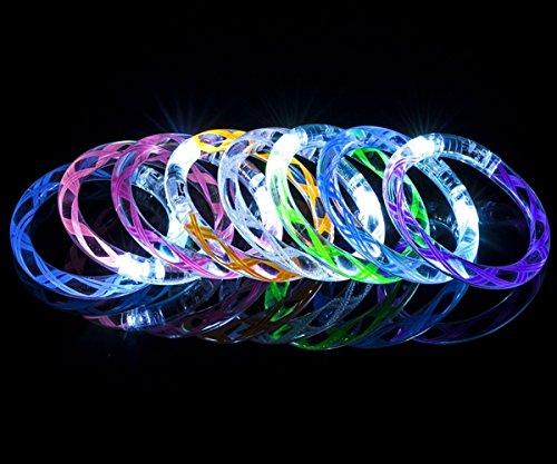 8PCS Led Helical Burr Glow Bracelet Acrylic Glow Bracelet Festival Glow Bracelet