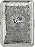 'Celtic Tree of Life' Slim King Florentine Chrome Pocket Case / Cigarette Case (Gift Box Edition)