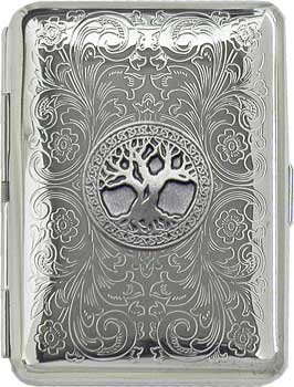 ('Celtic Tree of Life' Slim King Florentine Chrome Pocket Case / Cigarette Case (Gift Box Edition))