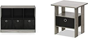FURINNO Basic 3x2 Bookcase Storage, 3%22 X 2%22, French Oak Grey/Black & Andrey End Table Nightstand with Bin Drawer, 1-Pack, French Oak Grey