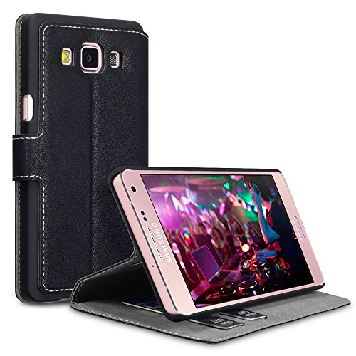 2015 Galaxy A5 Cases, Terrapin [Stand Feature] [Ultra Low Profile] [Crosshatch] Samsung Galaxy A5 Case Wallet [Black] Premium Wallet Case with STAND Flip Cover for Samsung Galaxy A5 - Black (not for 2nd Gen Galaxy A5 2016)