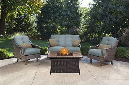 Hanover VEN4PCFP-BLU-TN Ventura 4-Piece Ocean Blue Outdoor Patio Fire Pit Chat Set, Stone Top (Stone Patio Set Top)