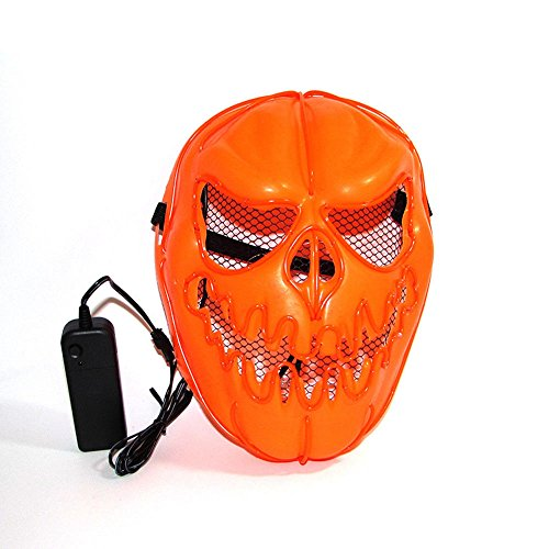 Light Up LED Mask | Jack-o'-lantern Light Up Led EL Wire Pumpkin Costume | US SELLER | FAST SHIPPING!! (Pumpkin Orange)